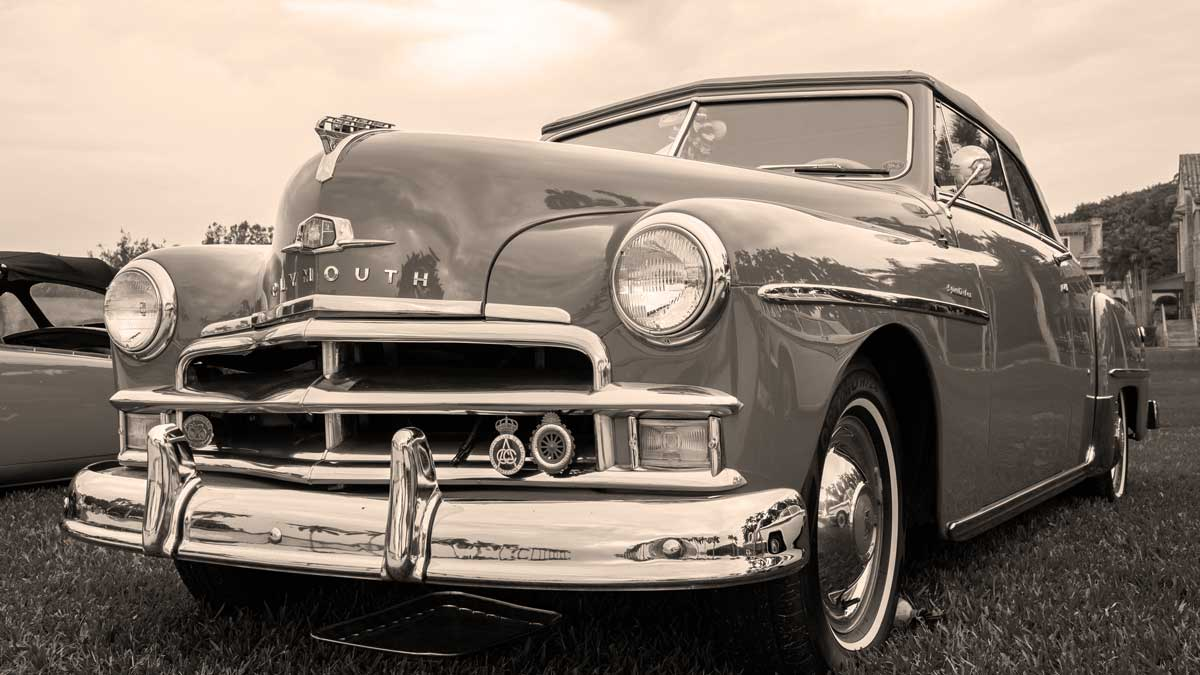 Classic Plymouth in sepia