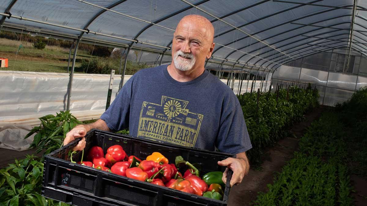 "Indigo Acres owner and farmer Kevin Marshall (Photo: <a href=""https://edmondbusiness.com/author/brent-fuchs/"">Brent Fuchs</a>)"