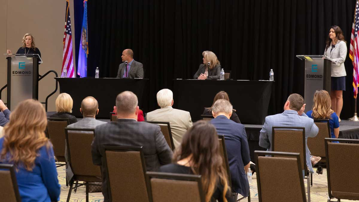 "Kendra Horn and Stephanie Bice at the 2020 5th District congressional candidate forum put on by the Edmond Area Chamber of Commerce (Photo: <a href=""https://edmondbusiness.com/author/brent-fuchs/"">Brent Fuchs</a>)"