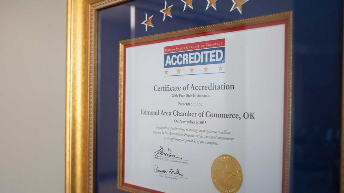 "Edmond Chamber Certificate of Accreditation (Photo: <a href=""https://edmondbusiness.com/author/brent-fuchs/"">Brent Fuchs</a>)"