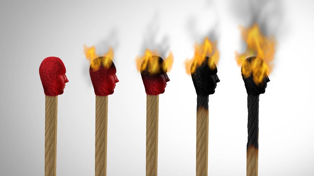 Match heads representing burnout