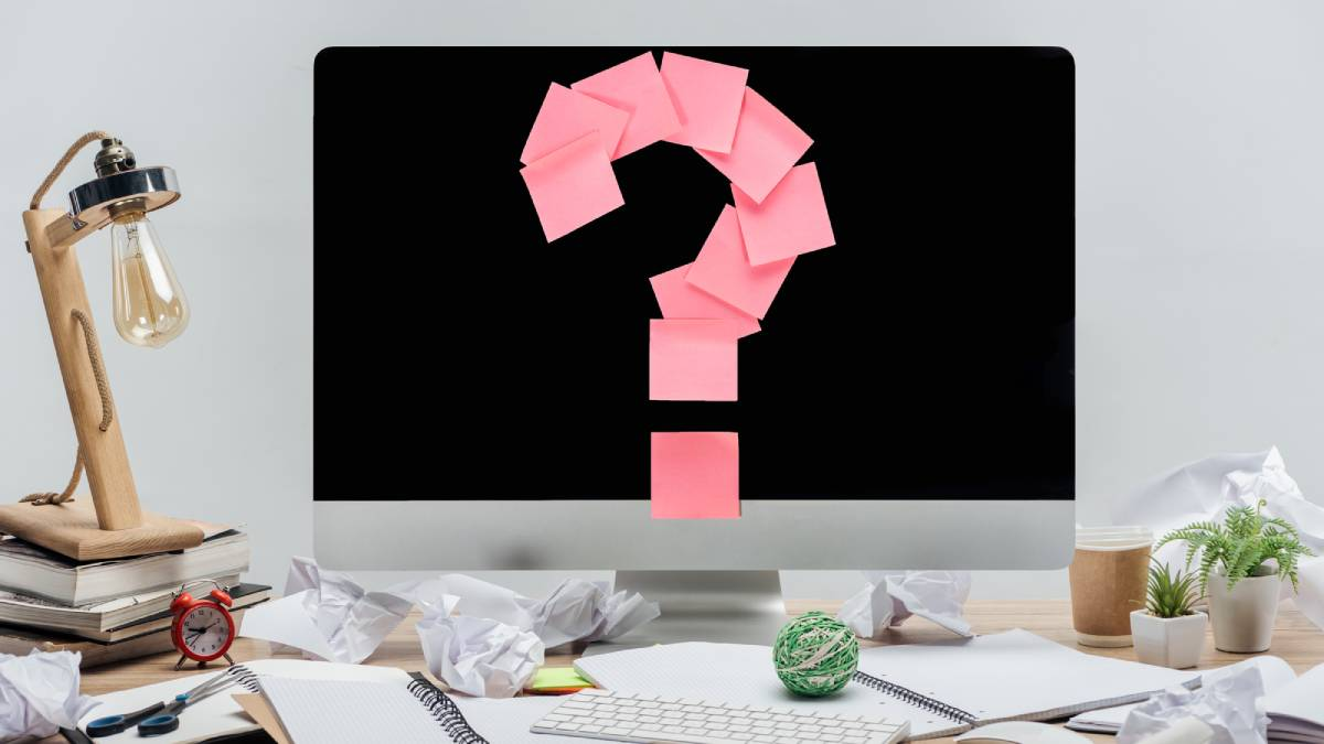 Sticky note question mark on computer