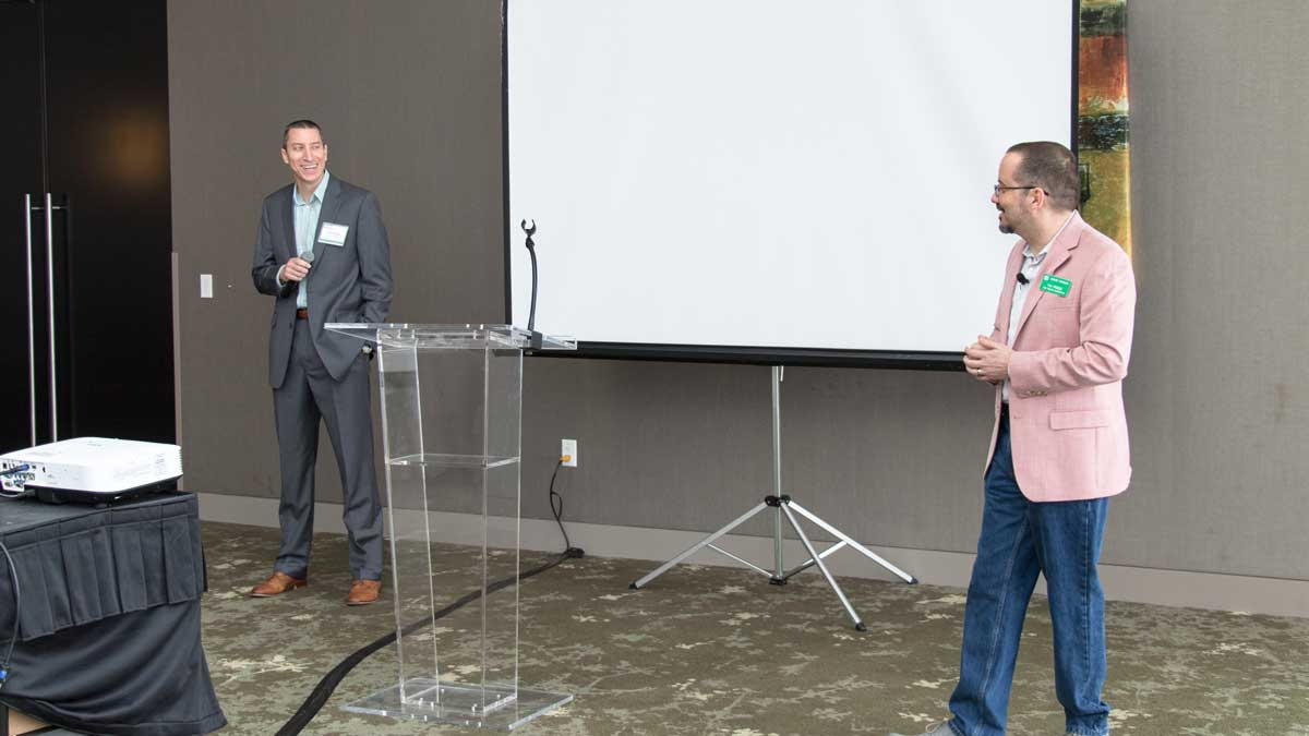 "Phil Klutts and Tim Priebe shared the stage and shared their story (Photo: <a href=""https://edmondbusiness.com/author/brent-fuchs/"">Brent Fuchs</a>)"