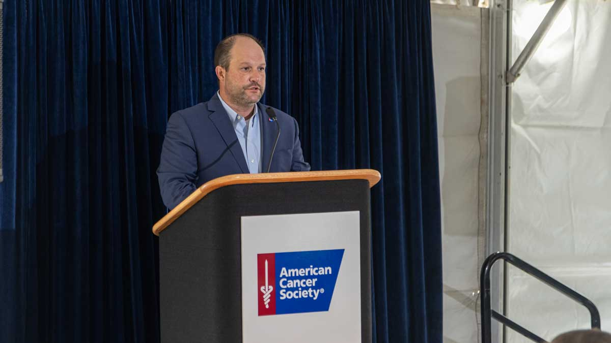Chad Richison speaks at the American Cancer Society groundbreaking for the Chad Richison Hope Lodge (Photo Provided)