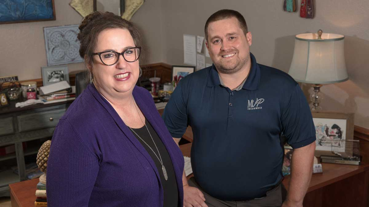 """Joan Curtis and Brent Brown, owners of MVP Insurance, thrived during 2020 (Photo: <a href=""""https://edmondbusiness.com/author/brent-fuchs/"""">Brent Fuchs</a>)"""