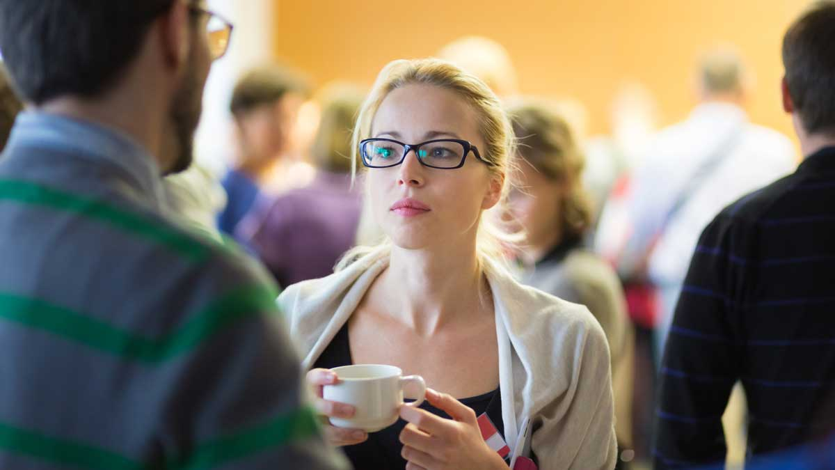 Woman at networking event
